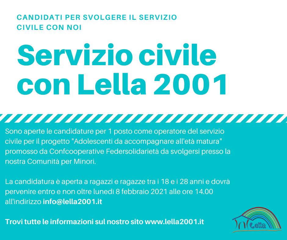 Servizio civile con Lella 2001 per 1 posto come operatore del servizio civile
